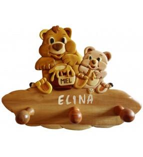 Porte-manteau enfant en bois personnalisé, Ours / Ourson