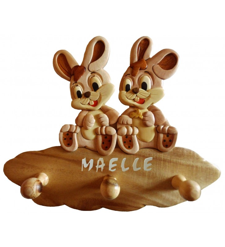 Porte-manteau enfant en bois personnalisé, Lapines