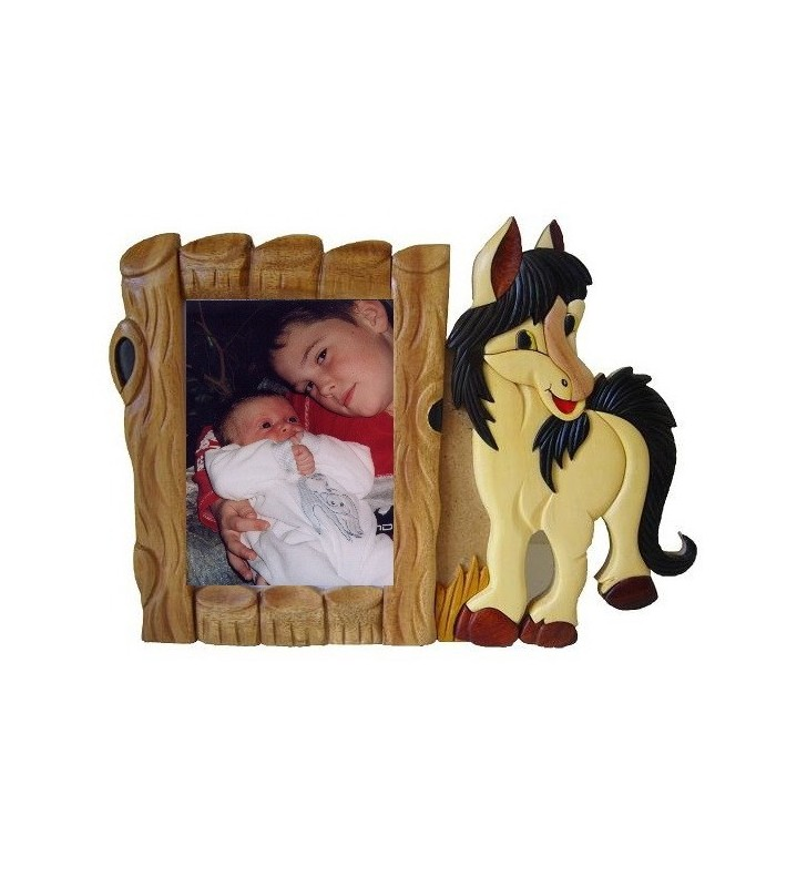 Cadre photo en bois, Cheval