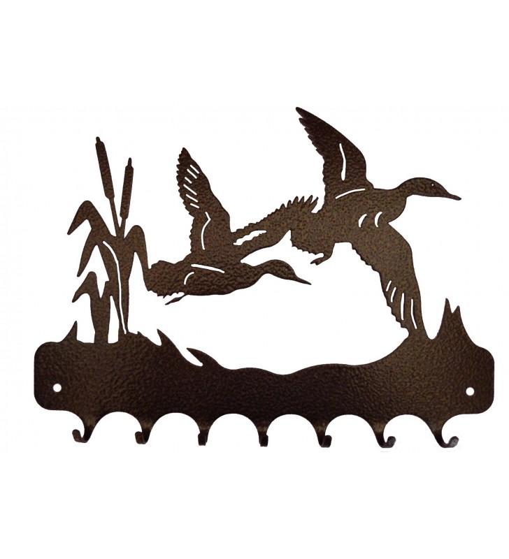 Accroche-clés, décor en métal, Canards en vol