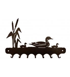 Accroche-clés, décor en métal, Canards