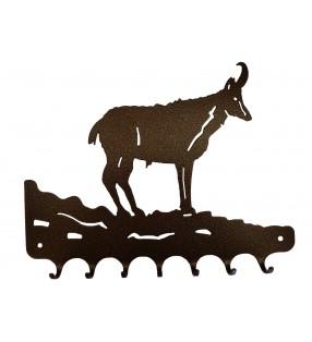 Accroche-clés, décor en métal, Chamois