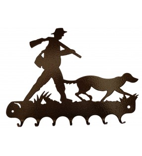 Accroche-clés, décor en métal, Chasseur et son chien