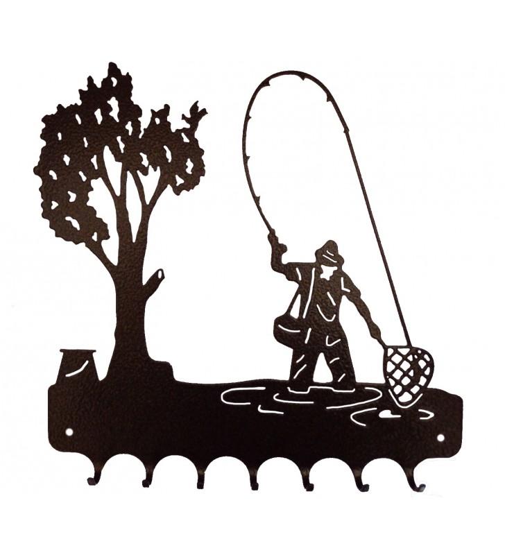 Accroche-clés, décor en métal, Pêcheur