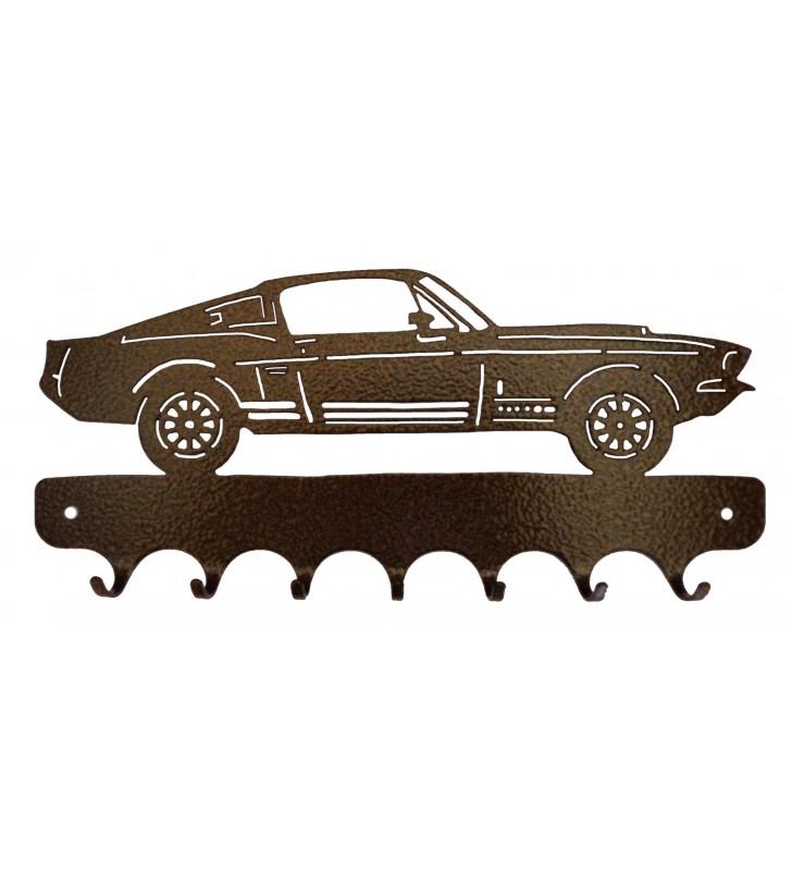 Accroche-clés, décor en métal, Mustang