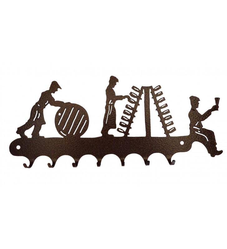 Accroche-clés, décor en métal, Vignerons