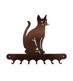 Accroche-clés, décor en métal, Chat