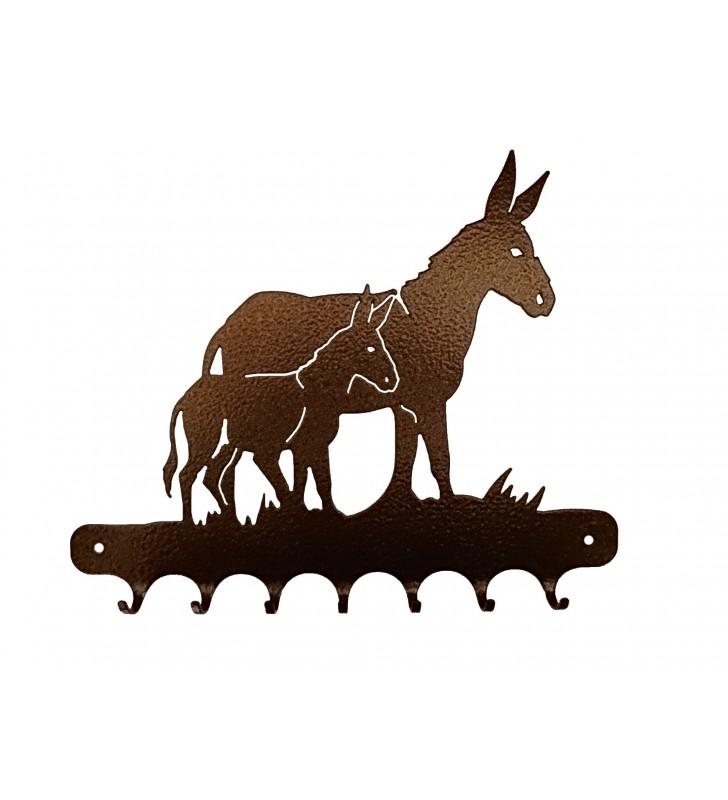 Accroche-clés, décor en métal, Âne et son ânon