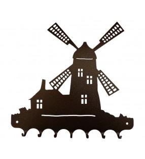 Accroche-clés, décor en métal, Moulin à vent