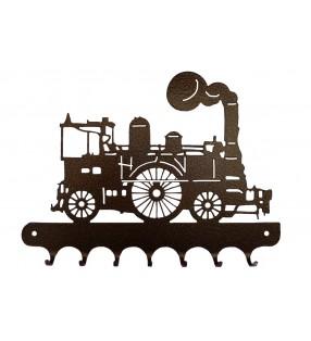Accroche-clés, décor en métal, Locomotive à vapeur