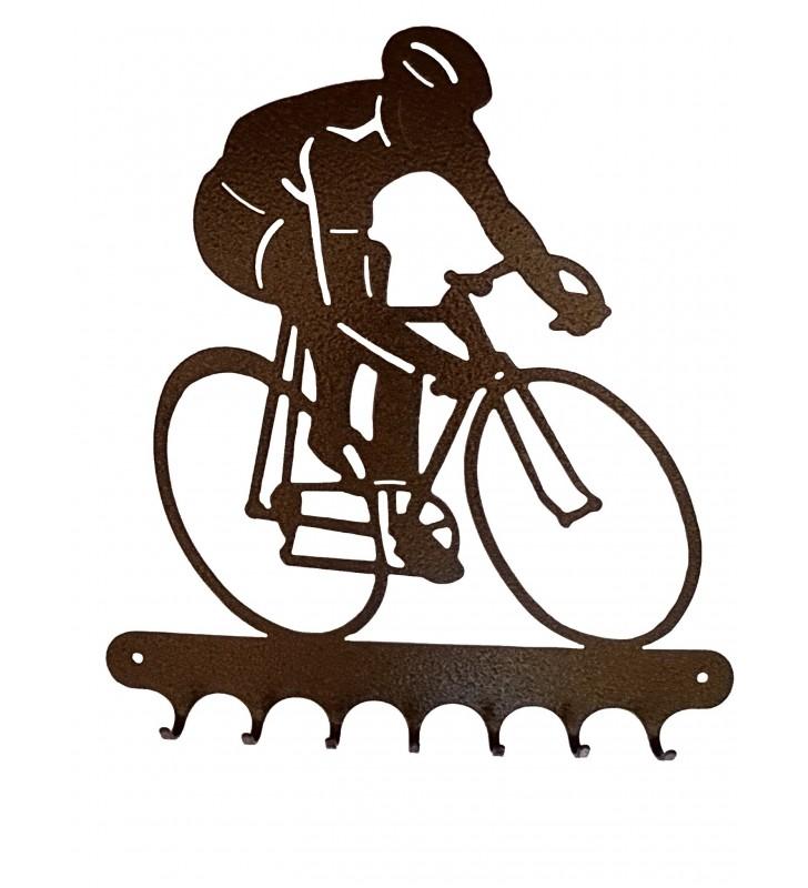 Accroche-clés, décor en métal, Cycliste