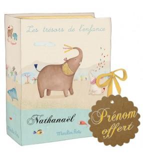 """Coffret naissance Moulin Roty avec prénom """"Les Papoum"""""""