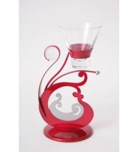 Bougeoir design original en métal laqué brillant, Rouge et Gris