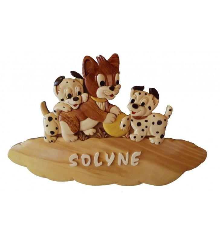 Plaque de porte prénom en bois, Chat / Chiens dalmatiens
