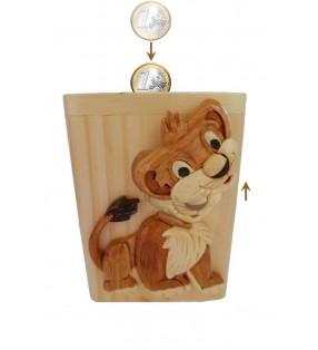 Tirelire animée en bois avec prénom, Lion