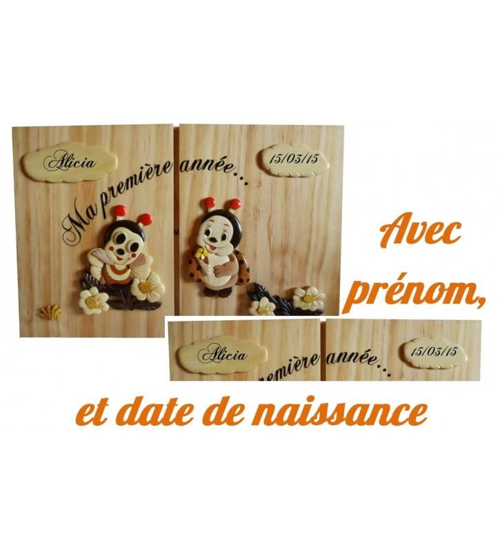 """Cadre 12 photos personnalisable """"Ma première année"""", Abeille / Coccinelle"""