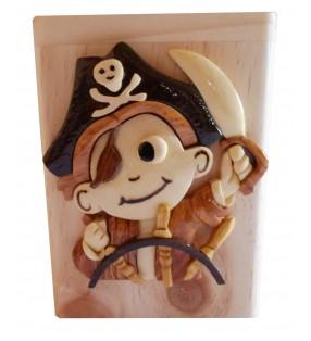 Tirelire en bois avec prénom, Petit Pirate