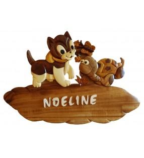 Plaque de porte prénom en bois, Chat / Tortue