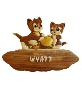 Plaque de porte prénom en bois, Chat / Chaton