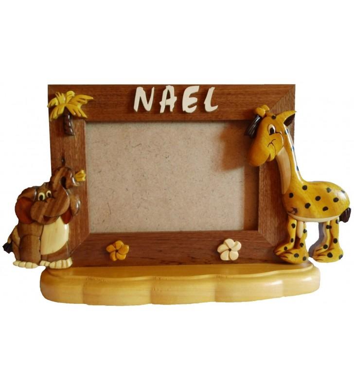 Cadre photo avec prénom en bois, Girafe et Eléphant