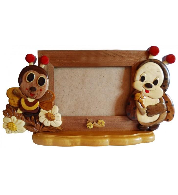 Cadre photo en bois, Abeille et Coccinelle