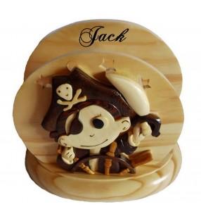 Lampe de chevet veilleuse en bois avec prénom, Petit Pirate