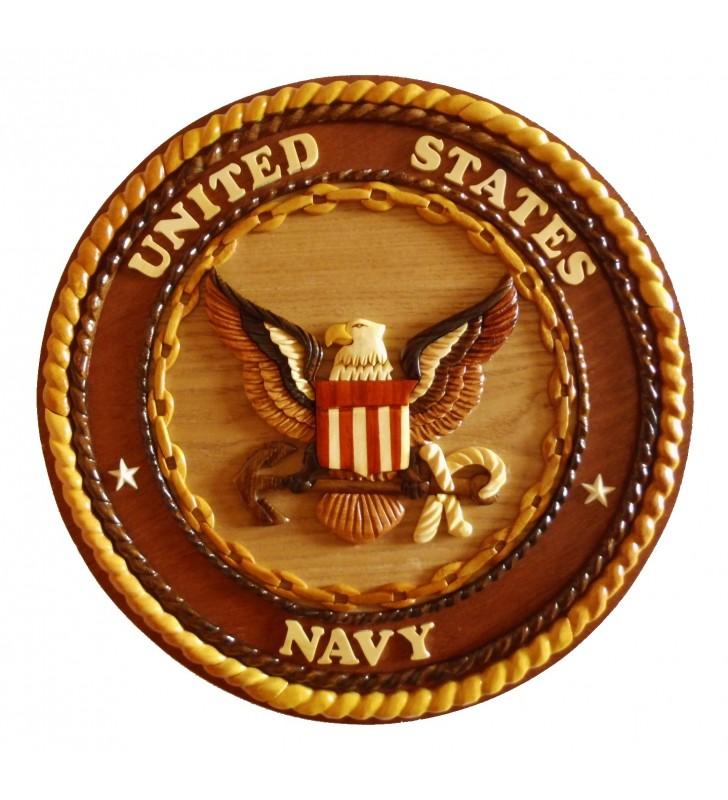 Insigne décorative en bois et intarsia, US Navy