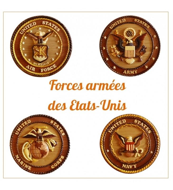 Insigne décorative en bois et intarsia, US Army
