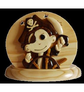 Lampe de chevet veilleuse en bois, Petit Pirate