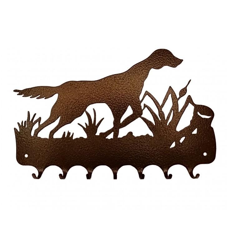 Accroche-clés, décor en métal, Chien de chasse