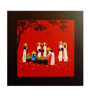Tableau en bois laqué asiatique - femmes vietnamiennes