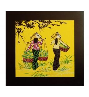 Tableau en bois laqué asiatique - Vietnamiennes au travail