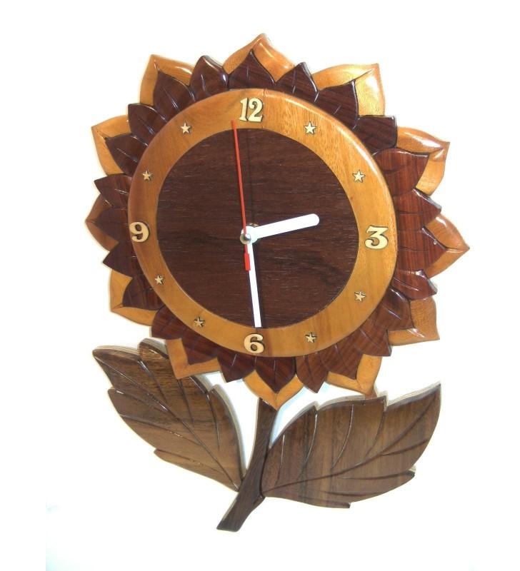 Horloge intarsia murale en bois, Tournesol