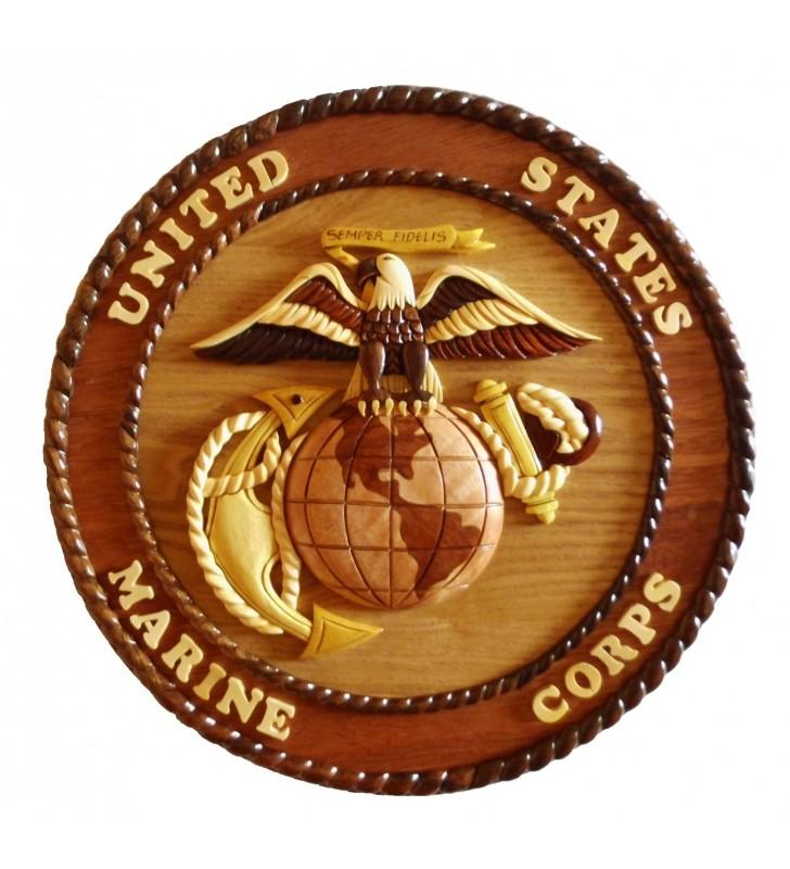 Insigne décorative en bois et intarsia, US Marine Corps