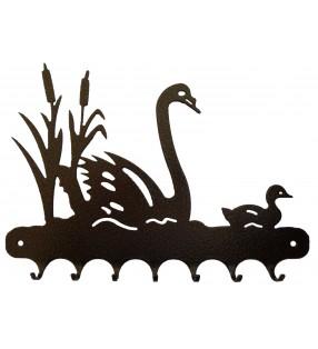 Accroche-clés, décor en métal, Cygnes