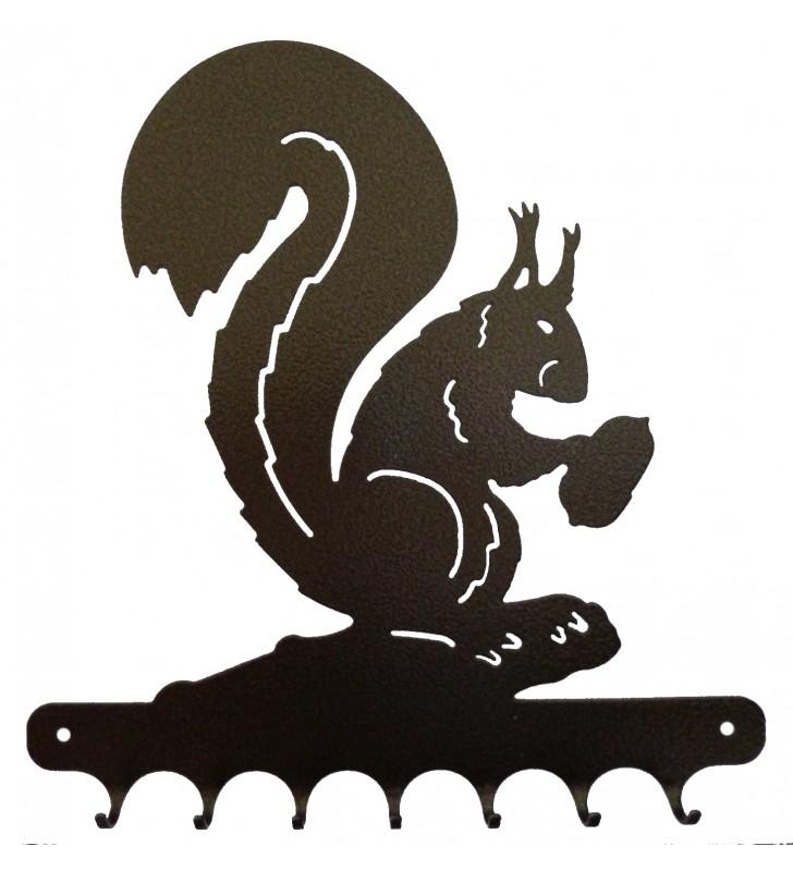 Accroche-clés, décor en métal, Écureuil et sa noisette