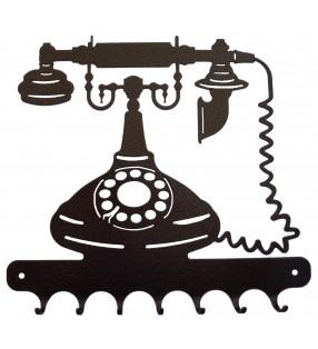 Accroche-clés, décor en métal, Téléphone ancien