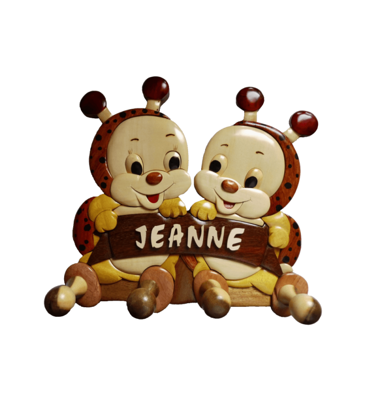 Porte-manteau prénom en bois, Coccinelles