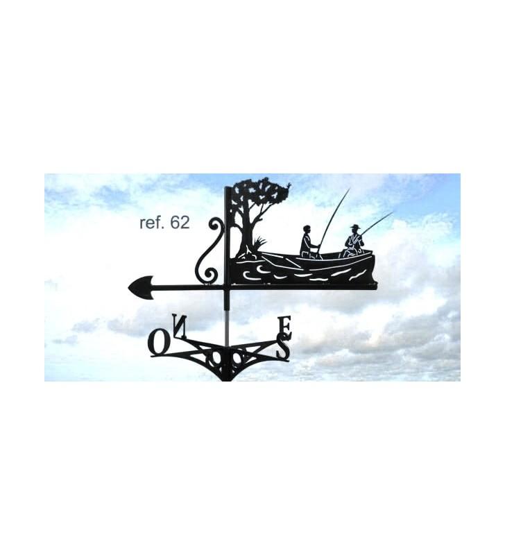 Girouette de toit Pêcheurs en barque, en acier ou en inox