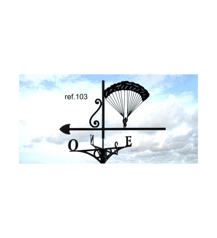 Girouette de toit Parachutiste en plein vol, en acier ou en inox