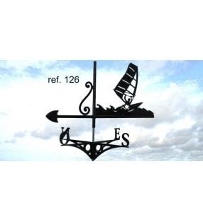Girouette de toit Planche à voile, en acier ou en inox