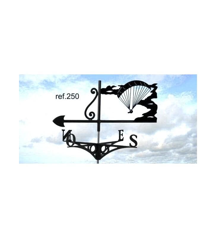 Girouette de toit Parachutiste prêt à atterrir, en acier ou en inox