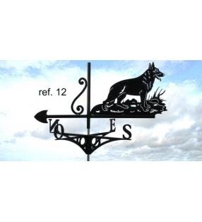 Girouette de toit Chien, Berger Allemand, en acier ou en inox