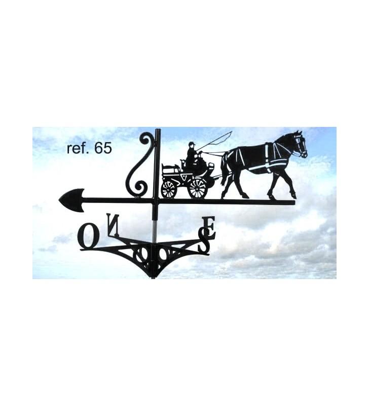 Girouette de toit Cheval et son cocher en calèche, en acier ou en inox