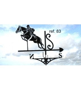Girouette de toit Cheval - Saut d'obstacles, en acier ou en inox