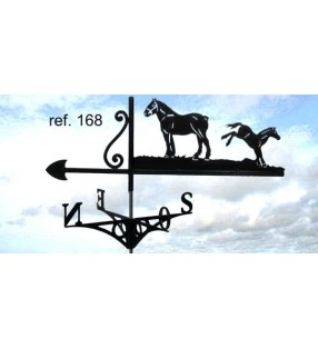 Girouette de toit Cheval et son poulain, en acier ou en inox