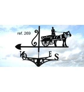 Girouette de toit Cheval et sa charette, en acier ou en inox