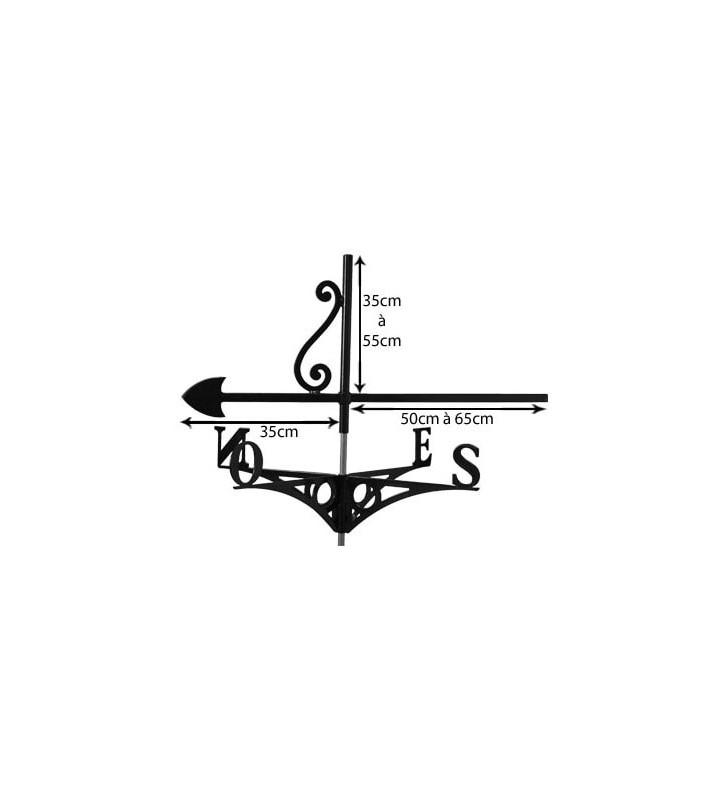 Girouette de toit Sorcière sur son balai, en acier ou en inox