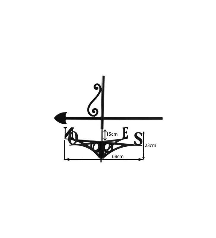 Girouette de toit Meunier et son moulin à vent, en acier ou en inox
