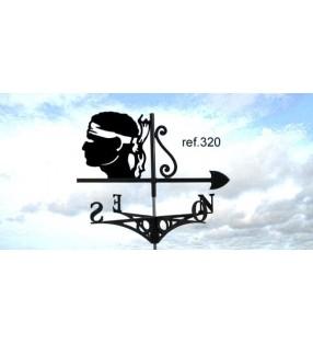 Girouette de toit Emblème de la Corse, Tête de Maure, en acier ou en inox